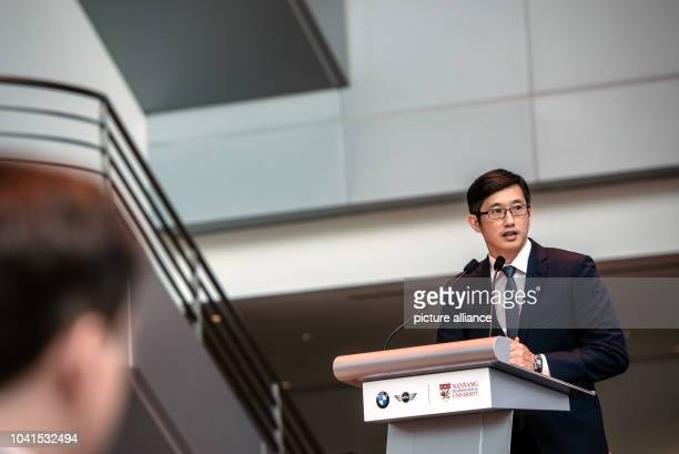 Minister of State at Singapore_s Ministry of Trade and Industry Teo Ser Luck speaks at the launch of a new electromobility research programme a joint...