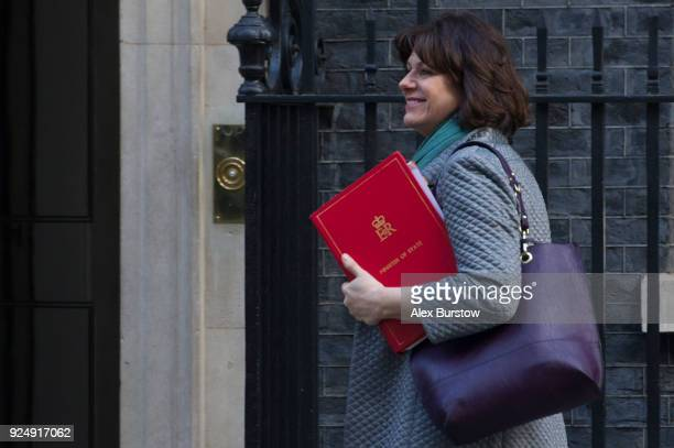 Minister of State at the Department for Business Energy and Industrial Strategy Claire Perry arrives on Downing Street for the weekly cabinet meeting...
