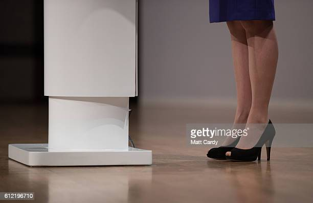 Minister of State at the Department of Energy and Climate Change Andrea Leadsom shoe detail speaks on the second day of the Conservative Party...
