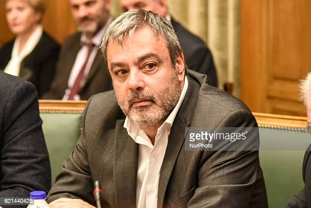 Minister of State Christophoros Vernadakis attends kick up meeting of the new cabinet of PM Alexis Tsipras in Athens on November 6 2016