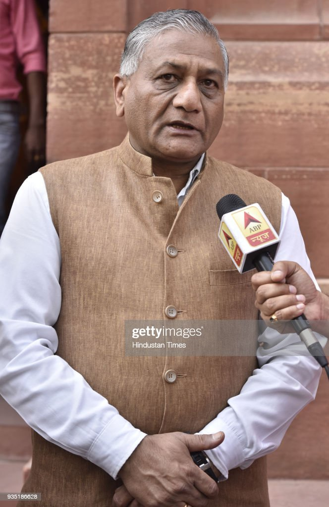 Minister of State External Affairs VK Singh speaks with media person on the issue of 39 Indians stranded in Mosul who were were killed by ISIS as...