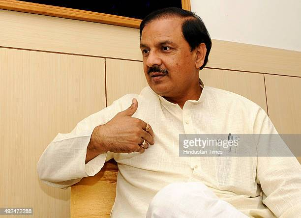 Minister of State for Culture Tourism and MoS for Ministry of Civil Aviation and Gautam Budh Nagar MP Mahesh Sharma speaks during an interview with...