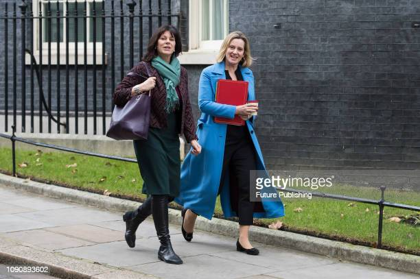 Minister of State for Energy and Clean Growth Claire Perry and Secretary of State for Work and Pensions Amber Rudd leave after a Cabinet meeting at...