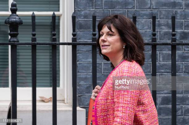 Minister of State for Energy and Clean Growth Claire Perry arrives for a weekly Cabinet meeting at 10 Downing Street in central London on 19 March...