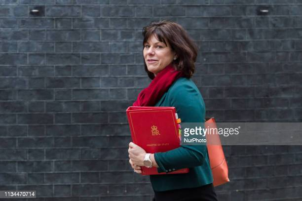 Minister of State for Energy and Clean Growth Claire Perry arrives for the political Cabinet meeting at 10 Downing Street on 02 April 2019 in London...