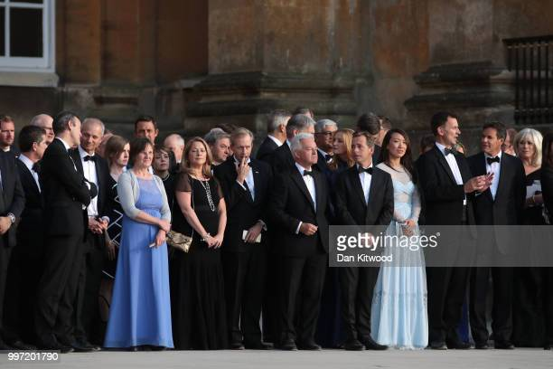 Minister of State for Europe and the Americas Alan Duncan Foreign Secretary Jeremy Hunt with wife Lucia and guests wait for the arrival of US...