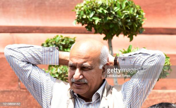 Minister of State for Extermnal Affairs M J Akbar at Parliament House during the Monsoon Session on August 9 2018 in New Delhi India