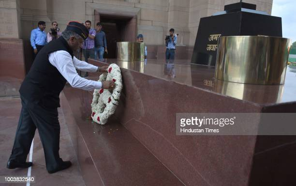 Minister of State for External Affairs VK Singh pays homage to soldiers during an event held in remembrance of soldiers killed in 1999 Kargil war at...