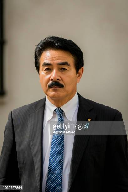 Minister of State for Foreign Affairs of Japan Masahisa Sato toured the Palacio de La Moneda during his visit to Chile on January 11 2019 in Santiago...