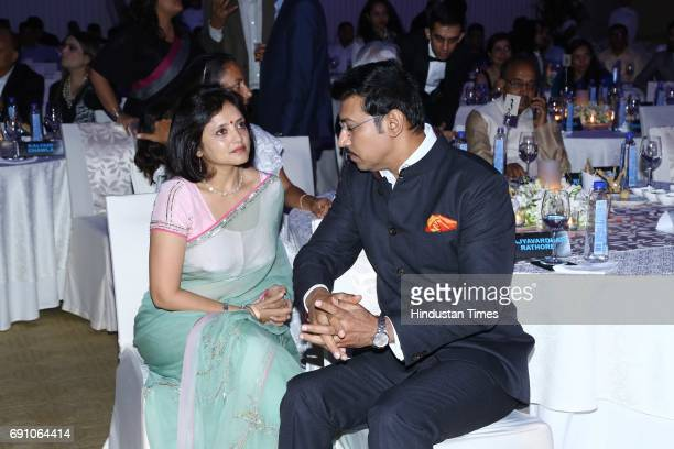 Minister of State for Information Broadcasting Rajyavardhan Singh Rathore with his wife Gayatri during the Hindustan Times Game Changer Awards 2017...