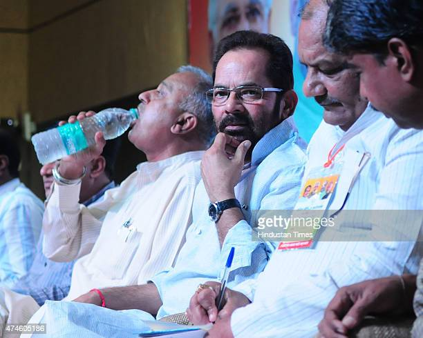 Minister of state for minority affairs Mukhtar Abbas Naqvi along with state BJP president Nandkumar Singh Chauhan attending state media workshop at...