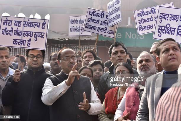 Minister of state for parliamentary affairs Vijay Goel with official and local RWA members march to appeal the masses on Swachhta at Chandni Chowk on...