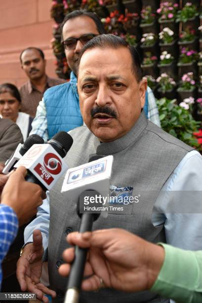 Minister of State for Prime Minister's Office Jitendra Singh speaks to reporters during the winter session of Parliament on November 20 2019 in New...