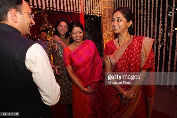 Minister of State for Road Transport and Highways Congress MP Priya Dutt DMK MP Kanimozhi and NCP MP Supriya Sule attending Hamdullah SayeedAamna...