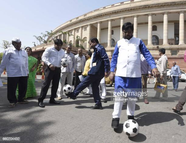 Minister of State for Social Justice and Empowerment Ramdas Athawale with International footballer and Member of Parliament from Howrah Prasun...