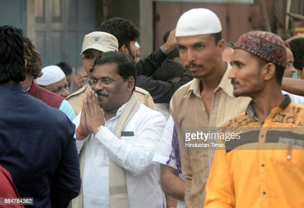 Minister of State for Social Justice and Special Assistance Dilip Kamble participates in a procession during Eid MiladUnNabi the birth anniversary of...