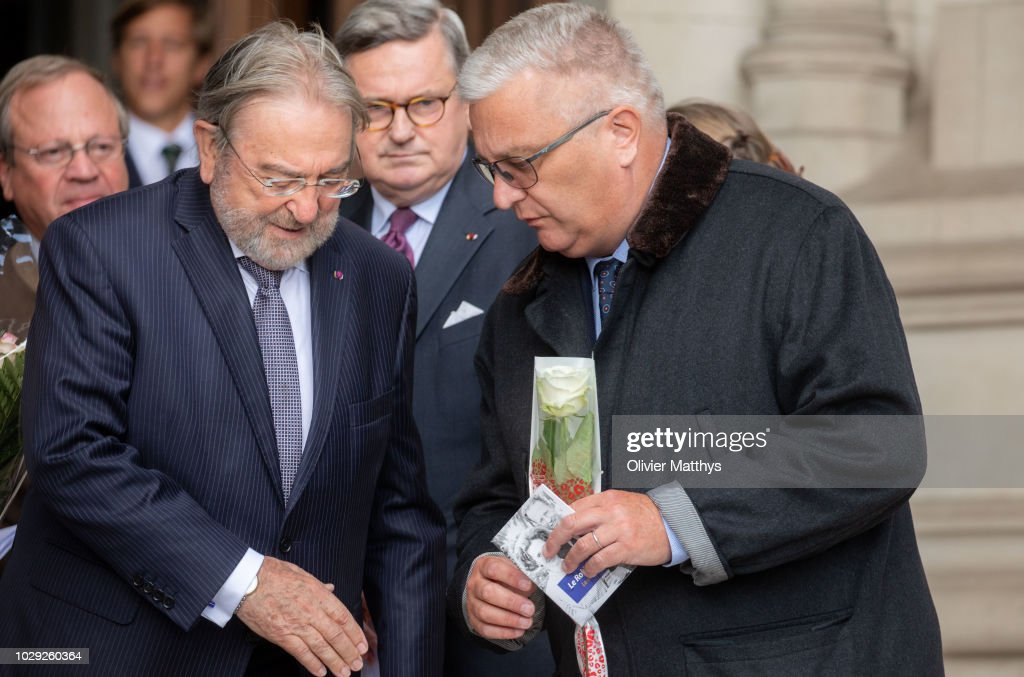 Minister of State of Belgium Herman De Croo and Prince Laurent of Belgium leave a the mass to remember the 25th anniversary of the death of King Baudouin at Notre Dame Church on September 8, 2018 in Laeken, Belgium.