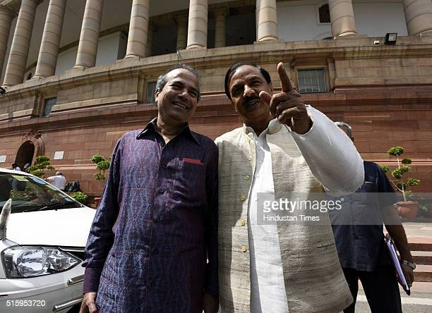 Minister of State of Culture and Tourism Mahesh Sharma and Playback Singer Suresh Wadkar during the Parliament Budget Session on March 16 2016 in New...