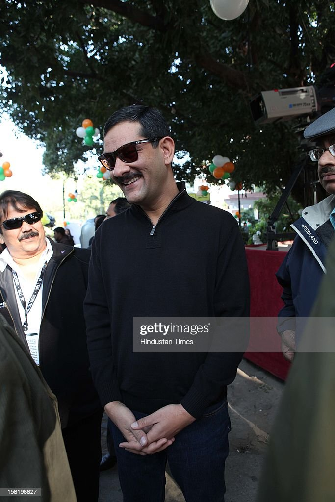 Minister of State Sports and Youth Affairs Jitendra Singh during Vinatage car rally organised by the JK Tyre and Constitution Club of India on December 8, 2012 in New Delhi, India.