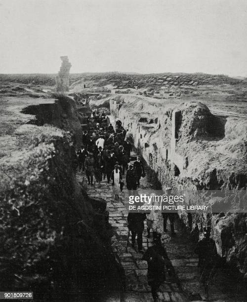 Minister of the Colonies Pietro Lanza di Scalea and the Governor of Libya Giuseppe Volpi visiting the ruins of Leptis Magna Libya from...