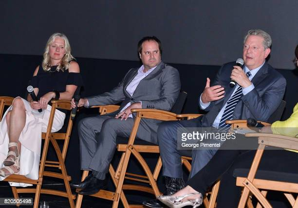 Minister of the Environment and Climate Change Catherine McKenna Producer Jeff Skoll Former Vice President Al Gore speaks on stage at a QA at a...