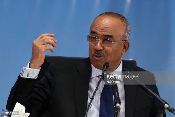 Minister of the Interior Noureddine Bedoui presents the official results of the local elections at the CIC conference center in Algiers on November...