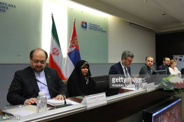 Minister of Trade Tourism and Telecommunications of Serbia Rasim Ljajic and Iranian Minister of Industry Mine and Trade Mohammad Shariatmadari attend...