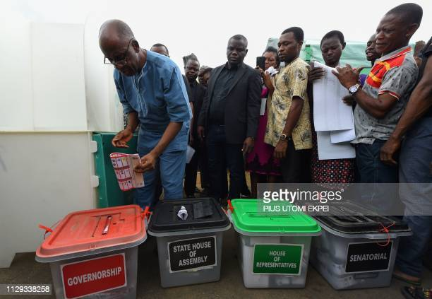 Minister of Transport Chibuike Amaechi tries to vote at a polling station in native home at Ubima Town on the outskirts of Port Harcourt Rivers State...