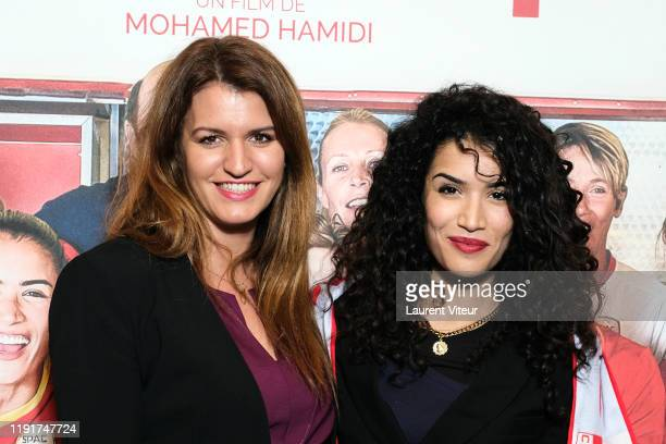 """Minister of Woman Egality Marlene Schiappa and Actress Sabrina Ouazani attend the """"Une Belle Equipe"""" premiere at Cinema Elysees Biarritz on December..."""