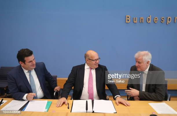 Minister of Work and Social Affairs Hubertus Heil Economy and Energy Minister Peter Altmaier and German Interior Minister Horst Seehofer arrive to...