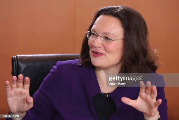 Minister of Work and Social Issues Andrea Nahles arrives for the weekly German federal Cabinet meeting on September 13 2017 in Berlin Germany High on...