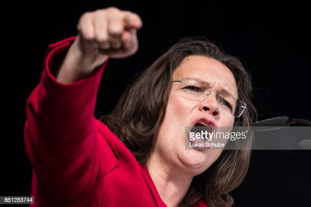 Minister of Work and Social Issues Andrea Nahles speaks during a protest against the recently announced fusion of ThyssenKrupp with steelmaker Tata...