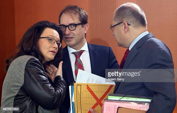 Minister of Work and Social Issues Andrea Nahles Transport and Digital Technologies Minister Alexander Dobrindt and Agriculture and Consumer...