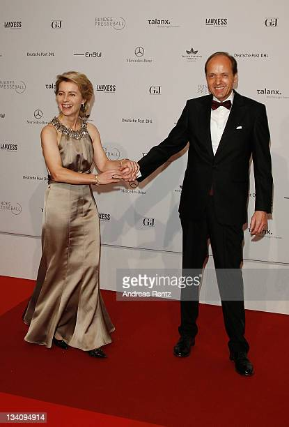 Minister of Work and Social Issues Ursula von der Leyen and husband Heiko von der Leyen attend the Bundespresseball at Hotel Intercontinental on...