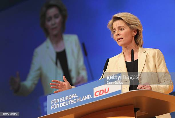Minister of Work and Social Issues Ursula von der Leyen speaks on the subject of a national minimum wage at the 24th Party Congress fo the German...