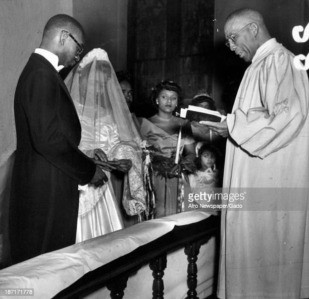 A Minister Performs a Wedding Ceremony late 1940s