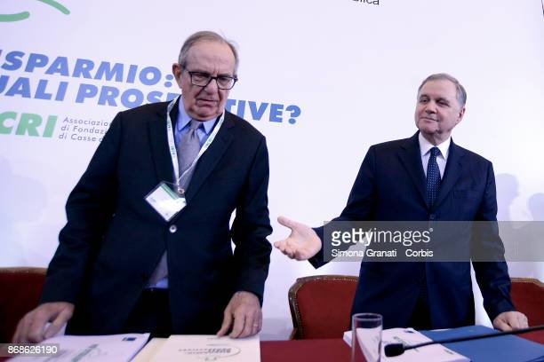 Minister Pier Carlo Padoan and Governor of the Bank of Italy Ignazio Visco participate in the 93rd Savings Day on October 31 2017 in Rome Italy
