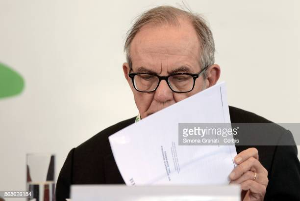 Minister Pier Carlo Padoan participates in the 93rd Savings Day on October 31 2017 in Rome Italy