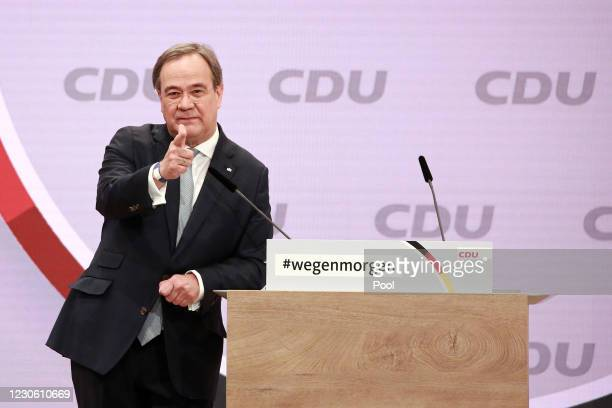 Minister President, Armin Laschet speaks as a candidate for chairman of the CDU at a digital party congress to elect a new leader on January 16, 2021...