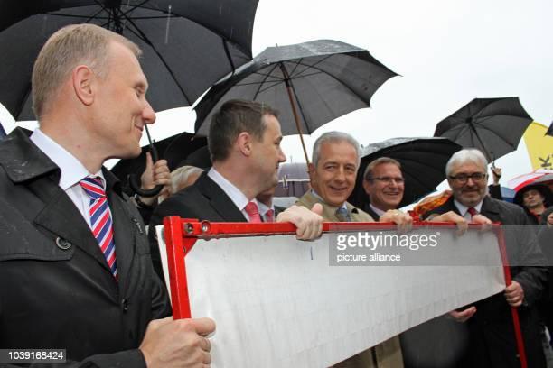 Minister President of Saxony Stanislaw Tillich marshal of Voivodship of Lower Silesia Rafal Jurkowlaniec gouverneur of district Liberec Martin Puta...