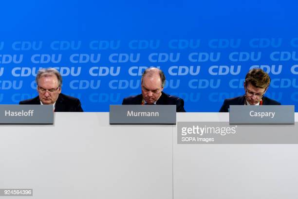 Minister President of SaxonyAnhalt Reiner Haseloff Treasurer of the CDU Philipp Murmann and Daniel Caspary during the 30th congress of the CDU The...