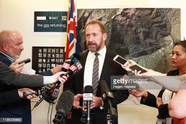 Minister Responsible for Pike River Reentry Andrew Little speaks to media at Parliament on March 12 2019 in Wellington New Zealand Little today...