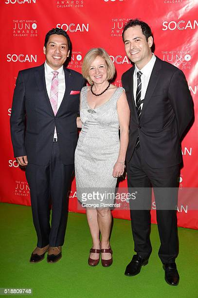 Minister Ricardo Miranda Premier Rachel Notley and Marco DeIaco attend the 2016 Juno Gala Dinner And Awards at the Telus Convention Center on April 2...