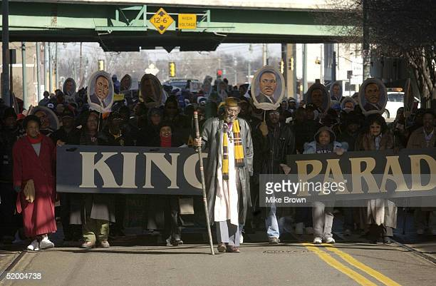 Minister Sahkara A Yahweh leads a parade honoring the legacy of Dr Martin Luther King Jr on January 17 2005 in Memphis Tenessee Yahwey was one of...