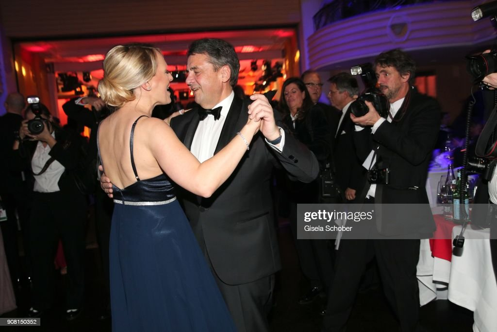 Minister Sigmar Gabriel and his wife Anke Stadler dance during the German Film Ball ( Deutscher Filmball ) 2018 party at Hotel Bayerischer Hof on January 20, 2018 in Munich, Germany.