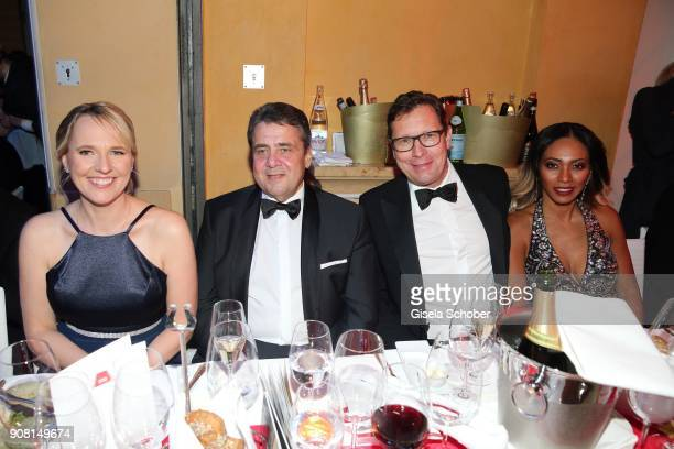Minister Sigmar Gabriel and his wife Anke Stadler Editor in chief of Bunte Robert Poelzer and his wife Vivien Poelzer during the German Film Ball...