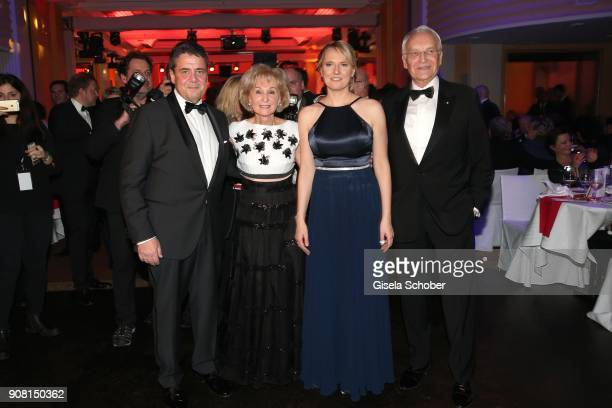 Minister Sigmar Gabriel Karin Stoiber Anke Stadler and Edmund Stoiber during the German Film Ball 2018 at Hotel Bayerischer Hof on January 20 2018 in...