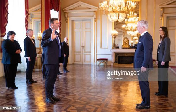 Minister SMEs Entrepreneurs Agriculture and Social Integration Denis Ducarme King Philippe Filip of Belgium and Belgian Prime Minister Sophie Wilmes...