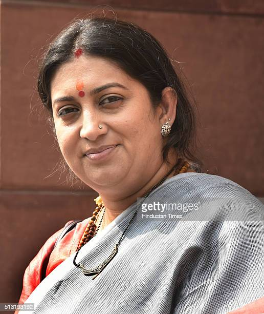 Minister Smriti Irani at Parliament during the ongoing Budget Session on March 1 2016 in New Delhi India Both the Houses of Parliament saw repeated...