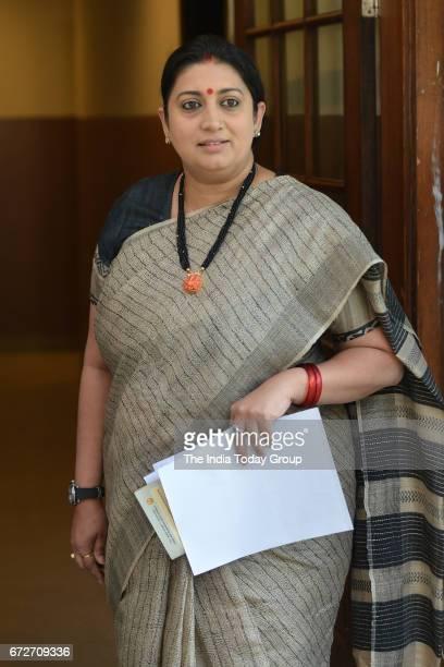 Minister Smriti Irani during a Press Conference at BJP Headquarters in New Delhi